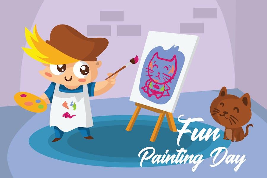 Fun Painting Day - Vector Illustration