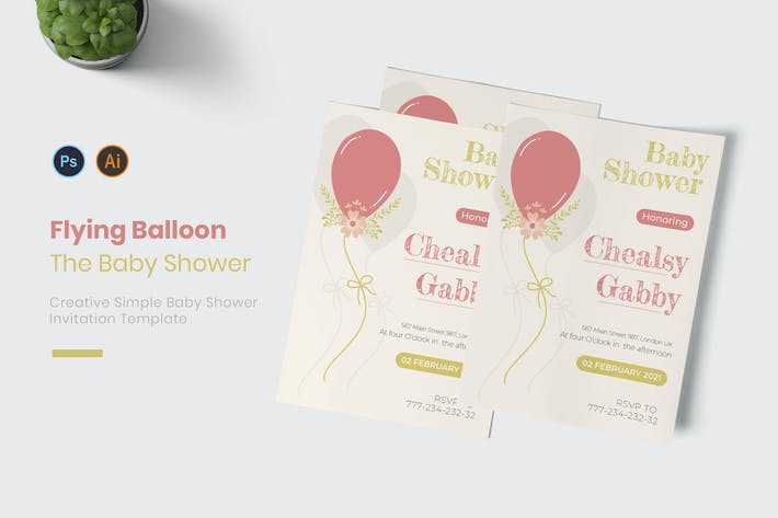 Flying Balloon Baby Shower Invitation