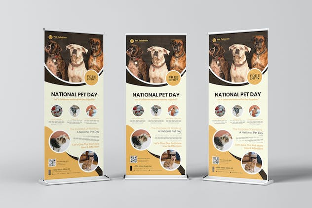 Celebrate National Pet Day Roll-up Banner