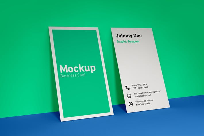 Thumbnail for Vertical Business Card Wall Mockup