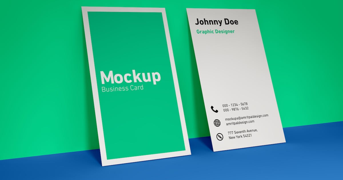 Download Vertical Business Card Wall Mockup by amritpaldesign
