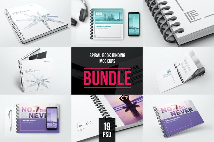 Thumbnail for Spiral Book Binding Bundle Mockups