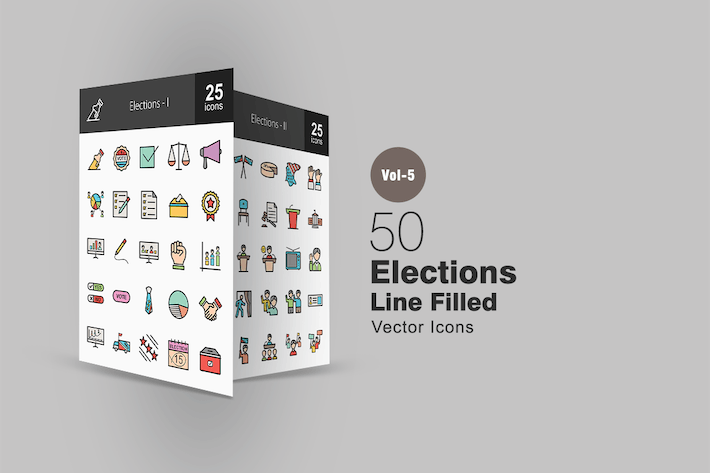 Thumbnail for 50 Elections Line Filled Icons