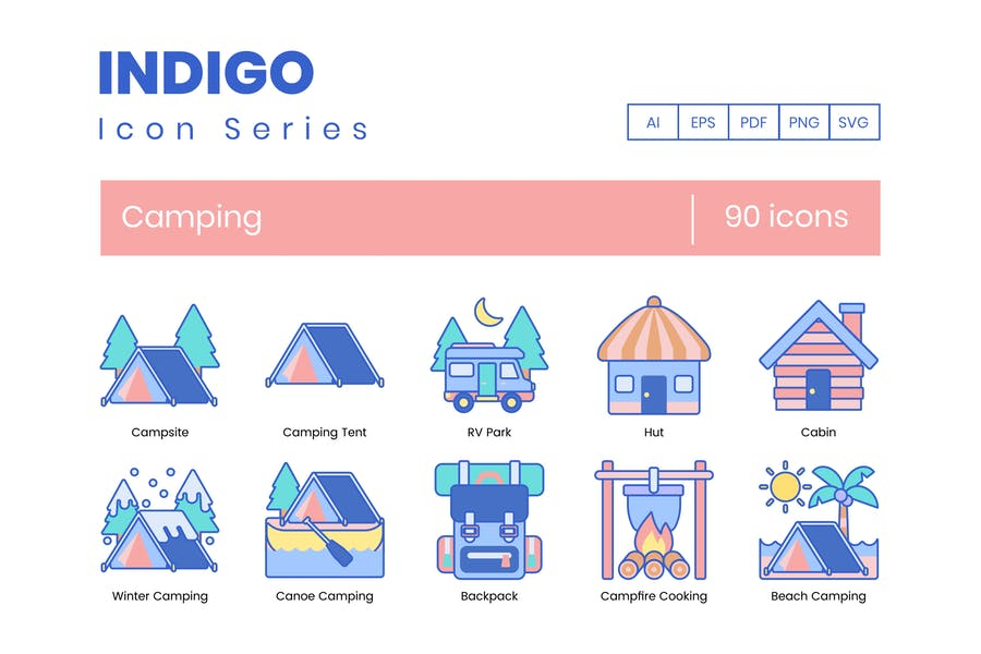 90 Camping Icons