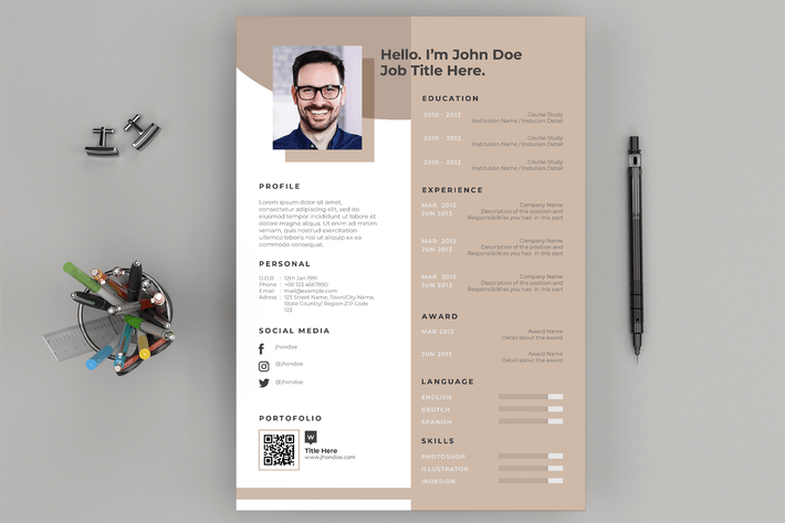 Cover Image For Resume / CV Layout and Cover Letter