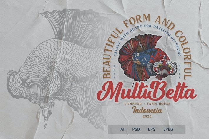 Thumbnail for Beautiful Fish Badge Logo Volume 1 No.2