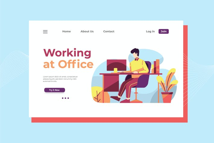 Thumbnail for Working at Office Landing Page Illustration