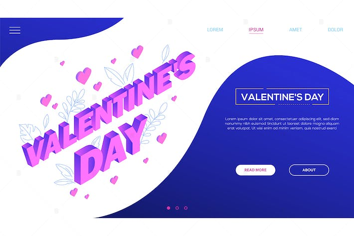 Thumbnail for St. Valentine's day - isometric vector web banner