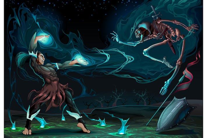 Сцена боя между магом и скелет