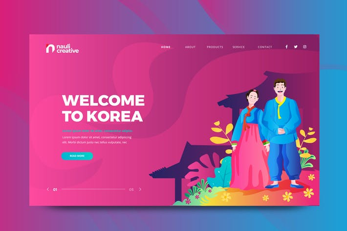 Thumbnail for Visit Korea Web PSD and AI Vector Template