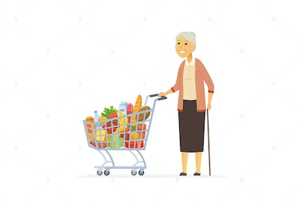 Senior woman with a shopping cart - illustration