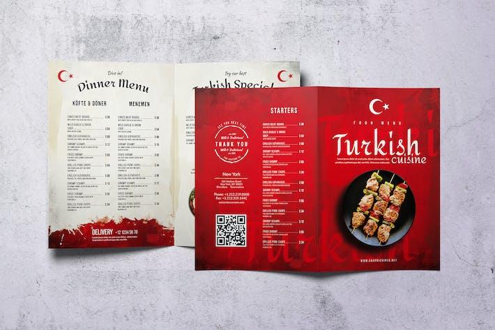 Turkish Cuisine Bifold A4 & US Letter Food Menu