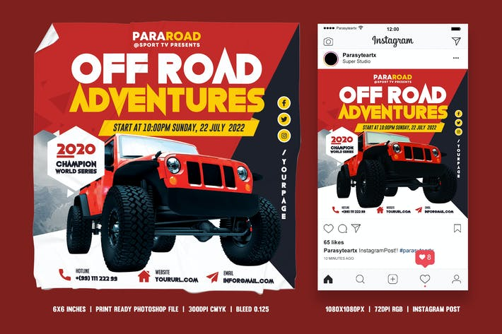 Thumbnail for Off Road Square Flyer & Instagram Post