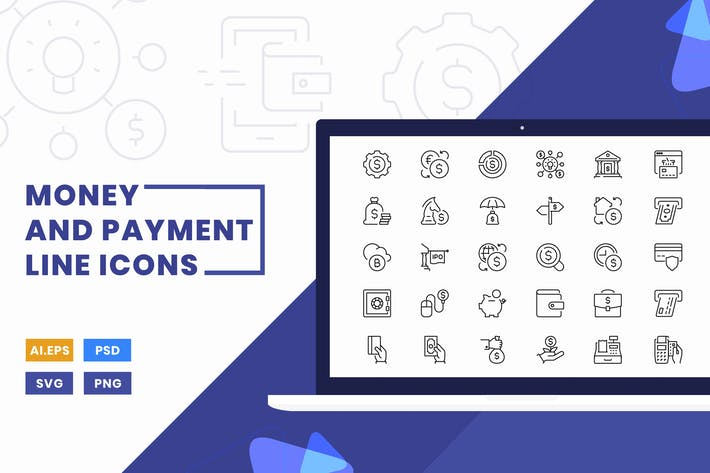 Thumbnail for Money and Payment Line Icons