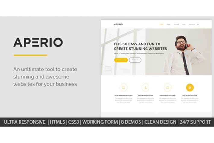 Thumbnail for Aperio - Multipurpose HTML Template