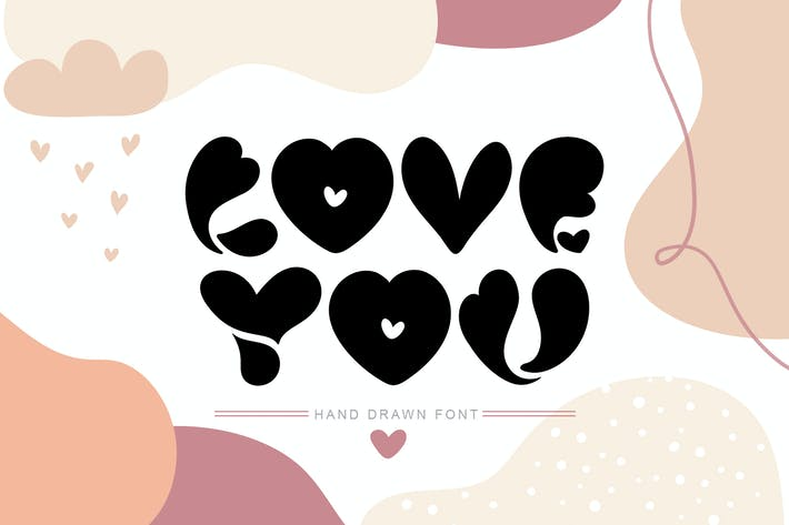 Cover Image For Love You Hand Drawn Valentine Font