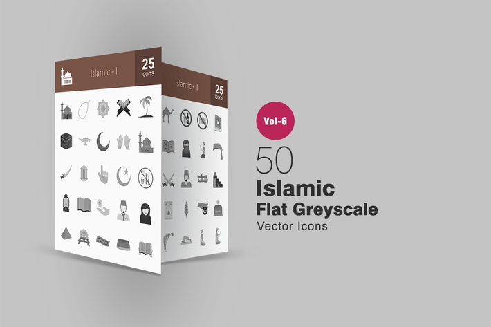 Thumbnail for 50 Islamic Flat Greyscale Icons
