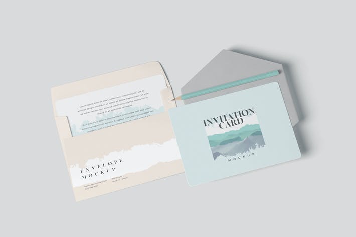 Thumbnail for Round Corner Invitation Card & Envelope Mockups