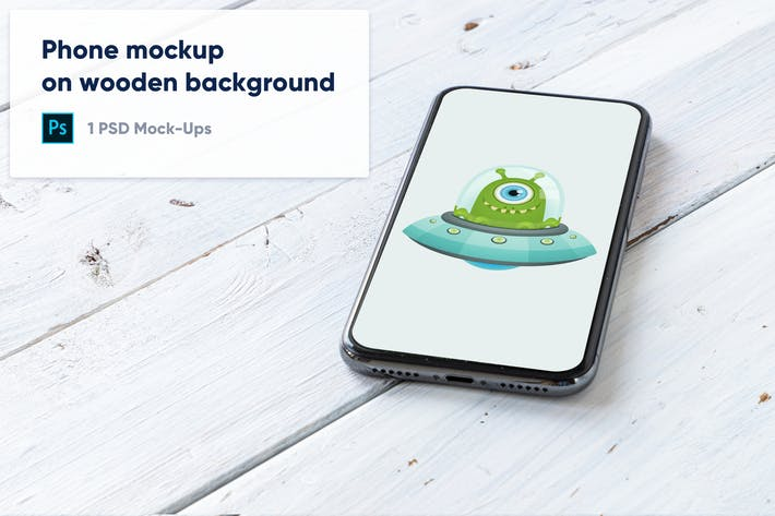 Thumbnail for Phone on White Wooden Background PSD Mockup