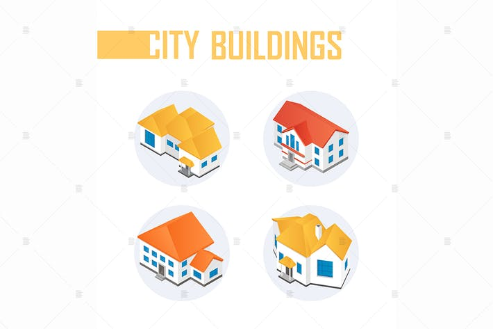 Thumbnail for City buildings - colorful isometric elements