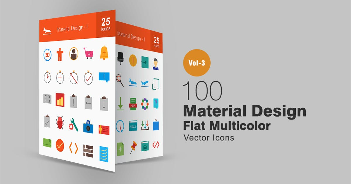 Download 100 Material Design Flat Multicolor Icons by IconBunny