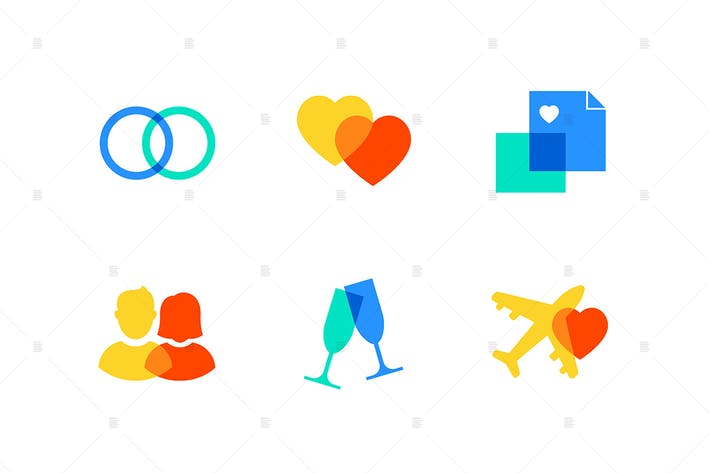 Thumbnail for Love and marriage - flat design style icons set