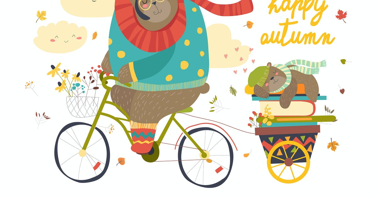 Download Cute bear riding a bicycle with sleeping cub. by masastarus