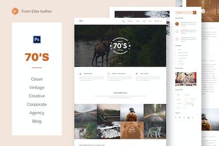 70s - Vintage Business & Blogging PSD Template
