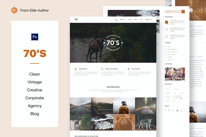 Thumbnail for 70s - Vintage Business & Blogging PSD Template