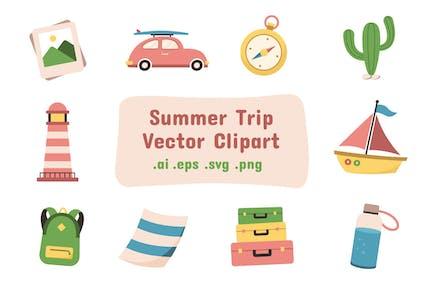 Summer Trip Vector Clip Art