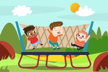 Kids on Playground - Vector Illustration