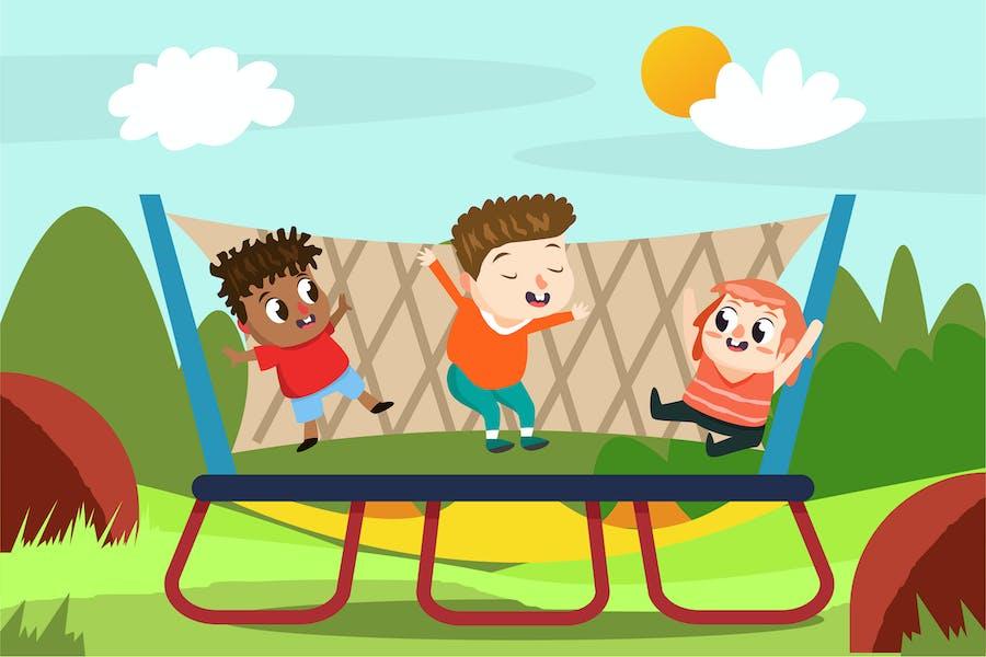 Kinder auf dem Spielplatz - Vektor Illustration