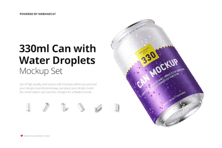 Thumbnail for 330ml Can Mockup with Water Droplets