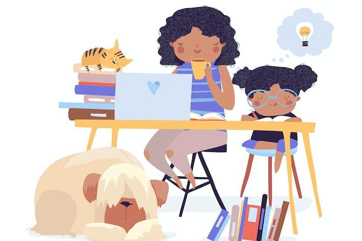 Thumbnail for Mutter mit ihrer Tochter tun Unterricht zu Hause