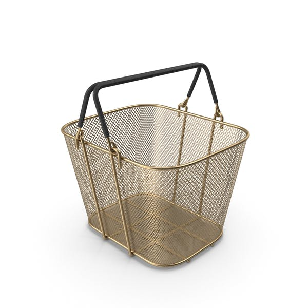 Gold Shopping Wire Mesh Basket with Handles