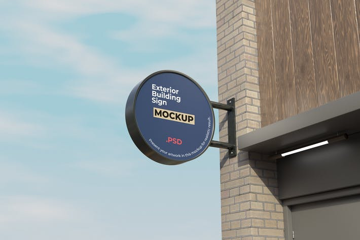 Thumbnail for Circle Exterior Building Sign Mockup Vol.2