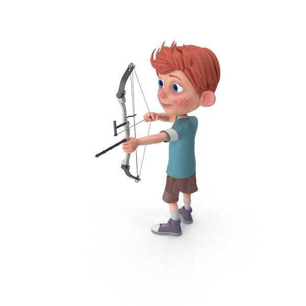 Cartoon Boy Charlie Using Bow