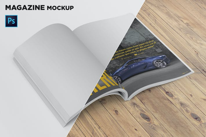 Thumbnail for Magazine Mockup Folded Page Perspective View
