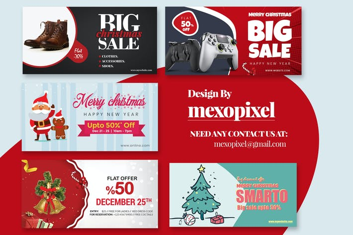 Thumbnail for Christmas Website Discount Banner And ads Design