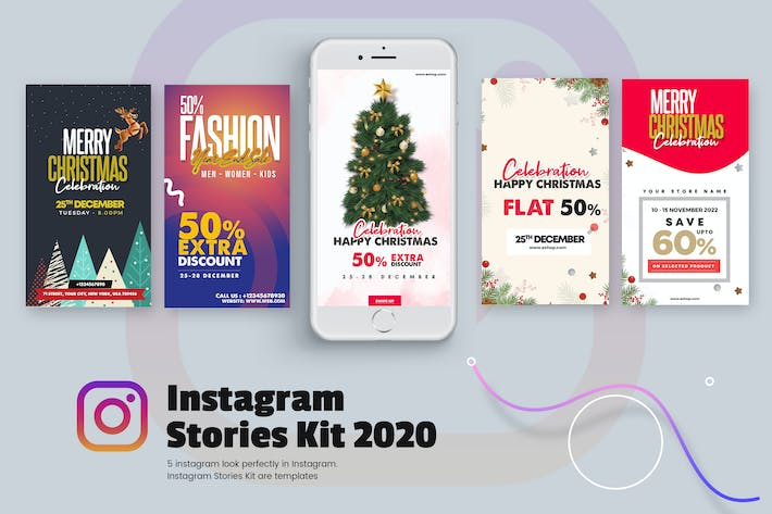 Thumbnail for Creative Christmas Instagram Stories Kit 2019