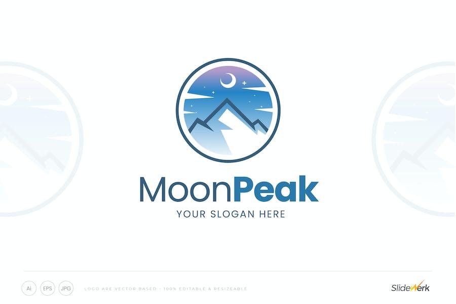 Moon and Mountain Peak Logo Template