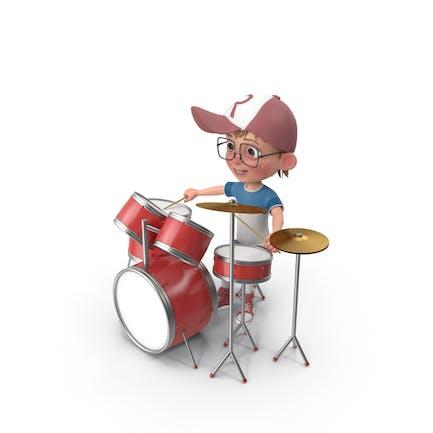Cartoon Boy Harry Playing Drums