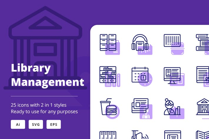 Thumbnail for Library Management (Line and Solid)