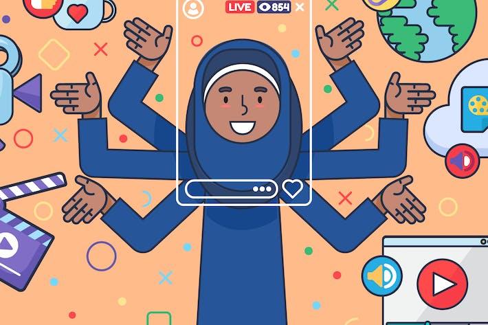 Thumbnail for Arabische weibliche Vlogger-Illustration
