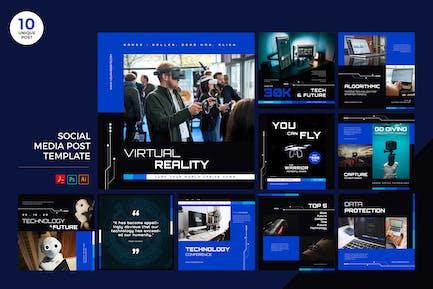 Future Technology Social Media Kit PSD & AI Templa