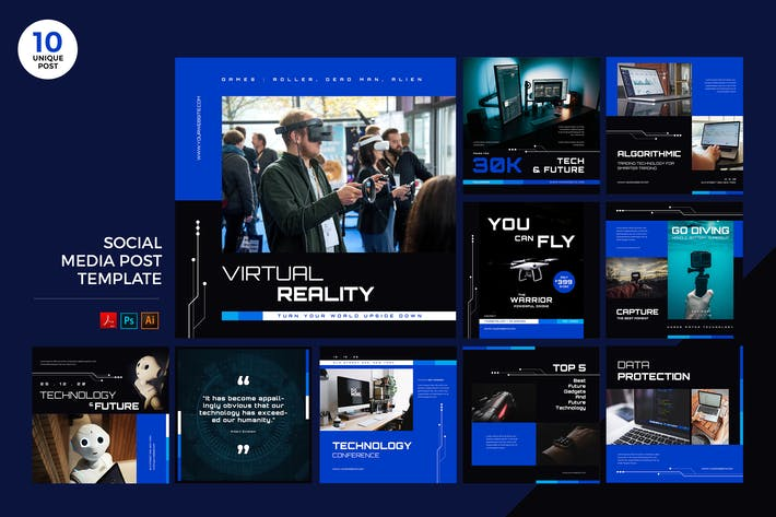 Thumbnail for Future Technology Social Media Kit PSD & AI Templa