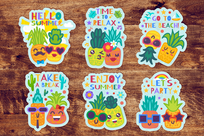 Thumbnail for Summer Pineapples Labels Set