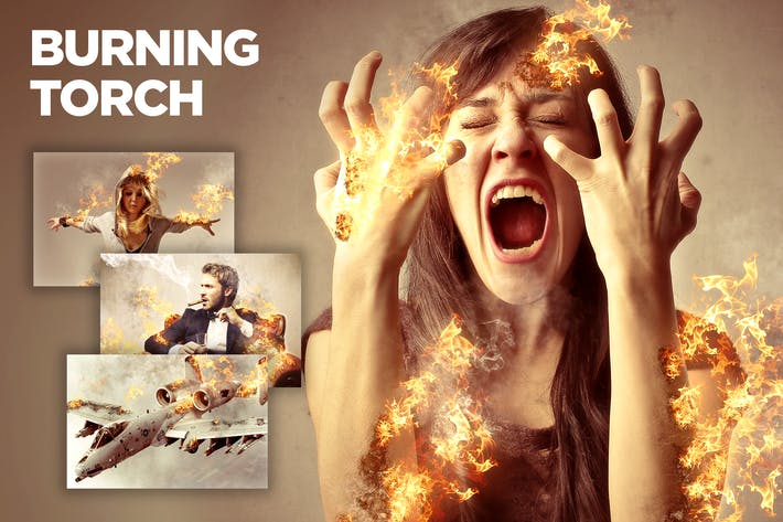 Thumbnail for Burning Torch CS4+ Photoshop Action