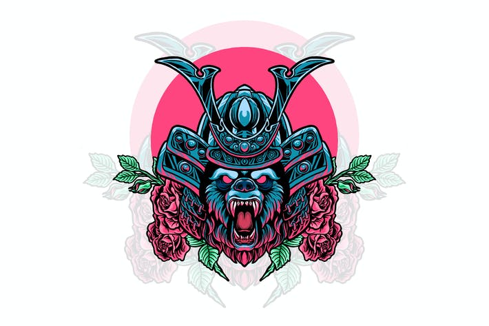 bear samurai with rose illustration