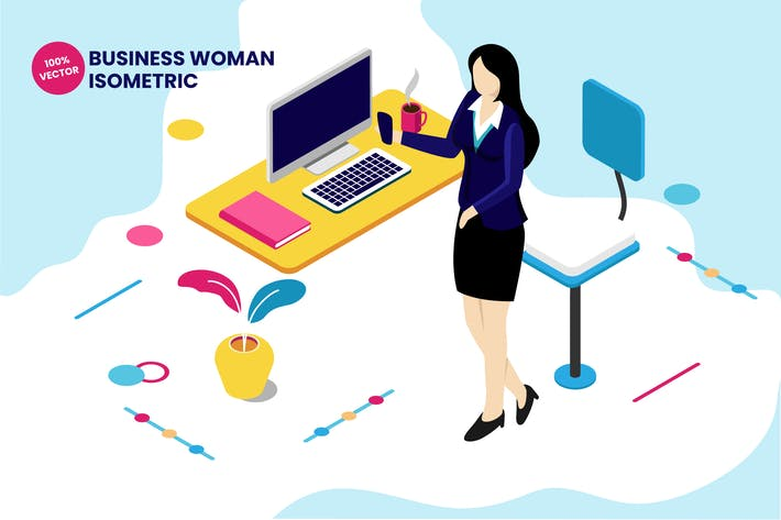 Thumbnail for Isometric Business Woman Vector Illustration
